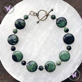 Kambaba Jasper Coin Bracelet with Silver Toggle Clasp